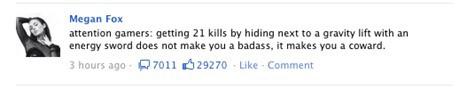 Megan Fox: Halo Facebook Status (30 May 2011)