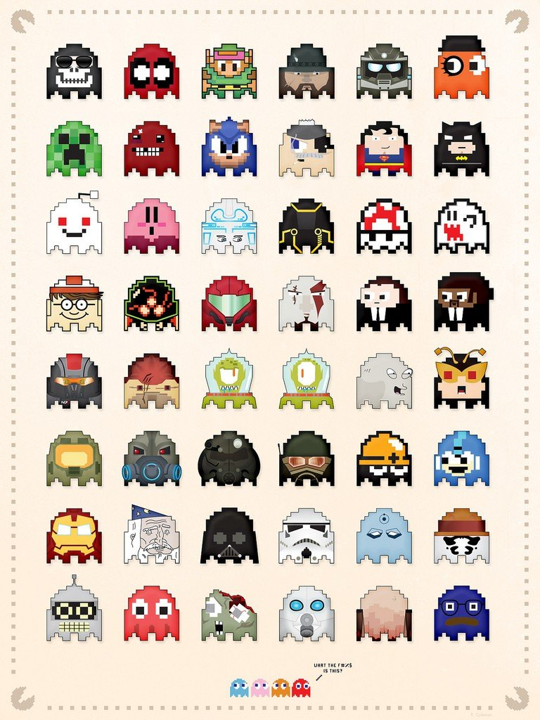 Vamers - Geek Icons as Pacman Ghosts - Art by Dash Coleman