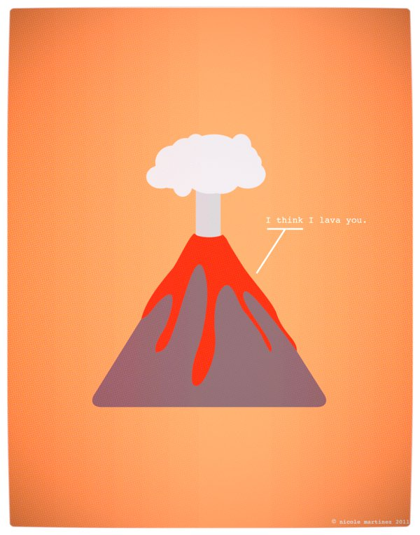 Vamers - Artistry - Minimalist Geek Love Posters - I Think I Lava You