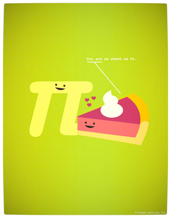 Vamers - Artistry - Minimalist Geek Love Posters - You Are As Sweet As Pi