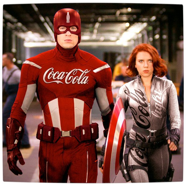 Vamers - Artistry - What if your favourite superhero had a corporate sponsorship - Captain America sponsored by Coca-Cola beside Black Widows Sponsored by Coca-Cola Light