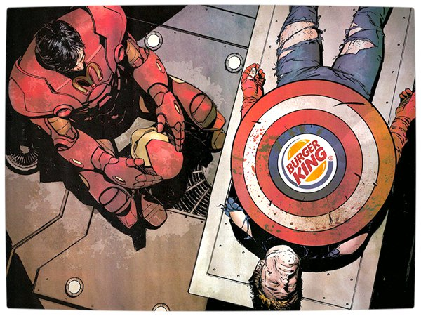 Vamers - Artistry - What if your favourite superhero had a corporate sponsorship - Iron-Man sponsored by MacDonalds beside Captain America sponsored by Burger King