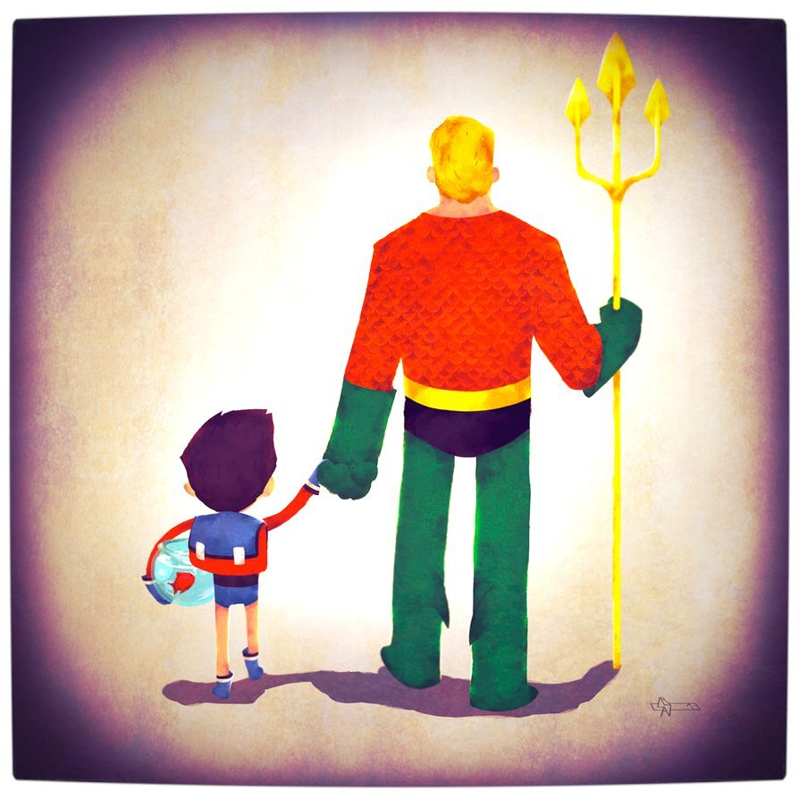 Vamers - Atristry - Marvel and DC Superheroes Walk Their Children to School - Art by Andry Rajoelina - DC - Aquaman