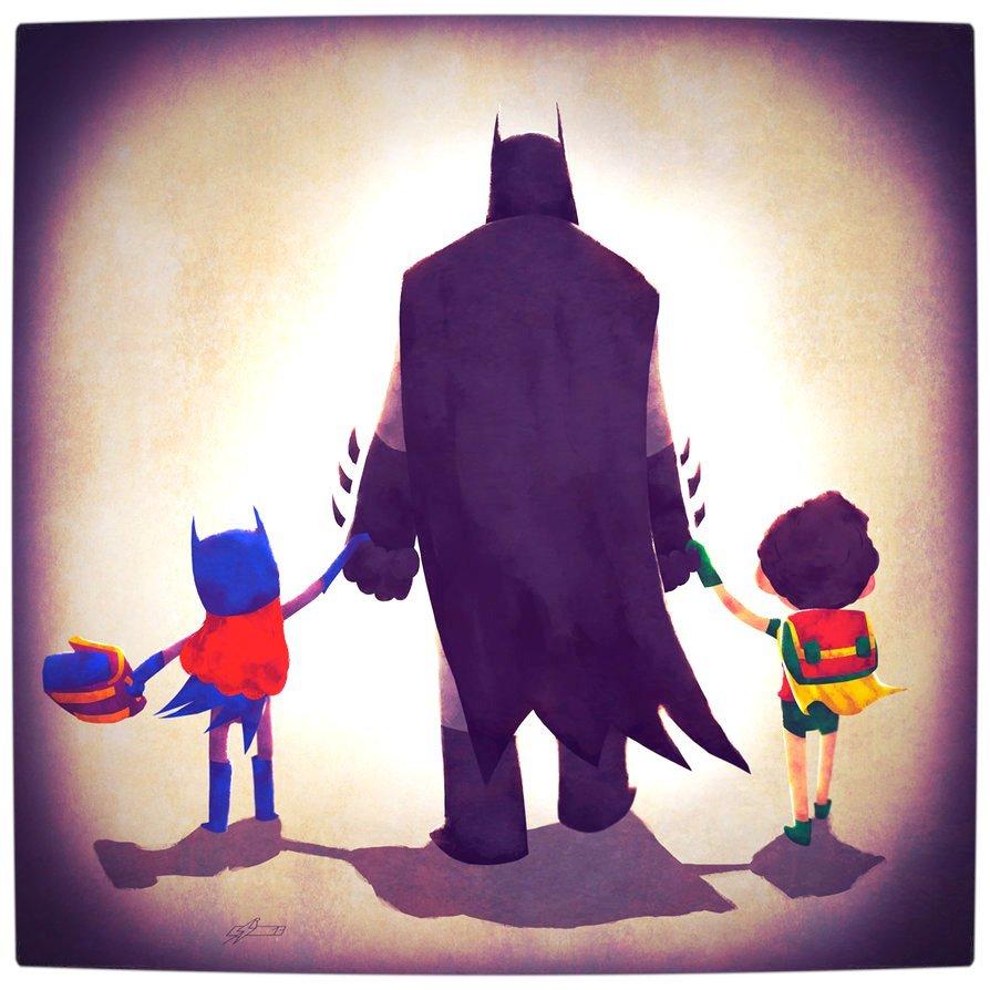 Vamers - Atristry - Marvel and DC Superheroes Walk Their Children to School - Art by Andry Rajoelina - DC - Batman