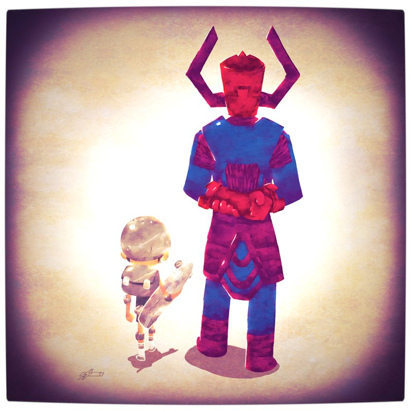 Vamers - Atristry - Marvel and DC Superheroes Walk Their Children to School - Art by Andry Rajoelina - Marvel - Galactus and Silver Surfer