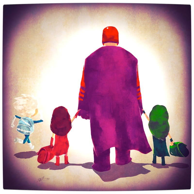 Vamers - Atristry - Marvel and DC Superheroes Walk Their Children to School - Art by Andry Rajoelina - Marvel - Magneto