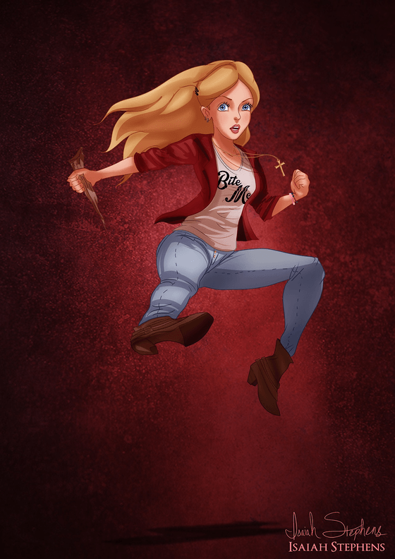 Vamers - Artistry - Disney Princesses Dress as Popular Geek Culture Icons for Halloween by Isaiah Stephens - Alice Liddell as Buffy Summers