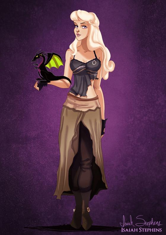 Vamers - Artistry - Disney Princesses Dress as Popular Geek Culture Icons for Halloween by Isaiah Stephens - Aurora as Daenerys Targaryen