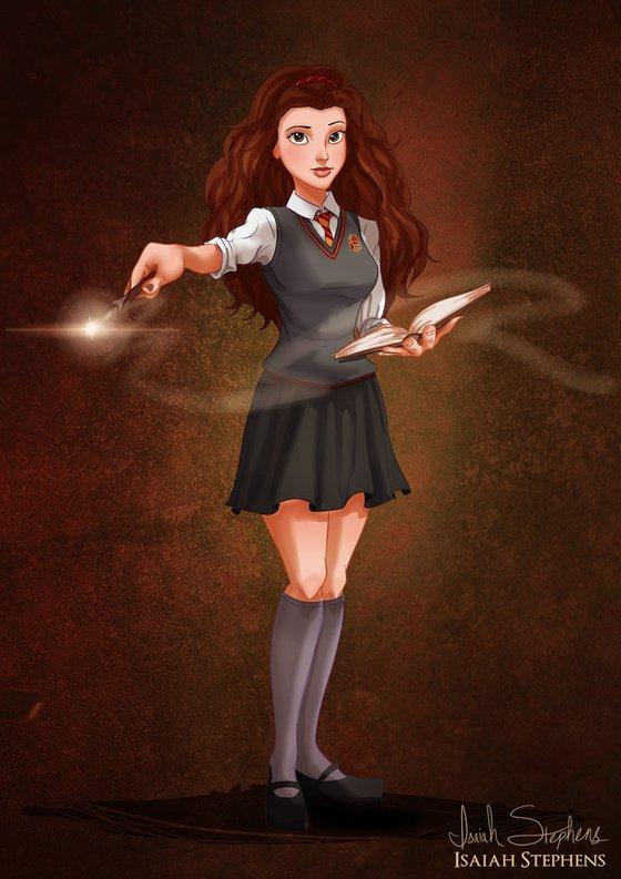 Vamers - Artistry - Disney Princesses Dress as Popular Geek Culture Icons for Halloween by Isaiah Stephens - Belle as Hermione Granger