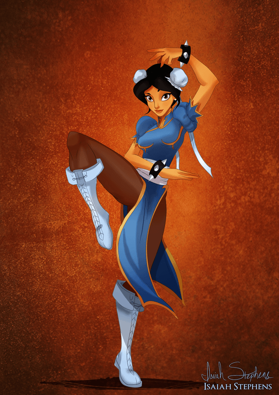 Vamers - Artistry - Disney Princesses Dress as Popular Geek Culture Icons for Halloween by Isaiah Stephens - Jasmine as Chun-Li