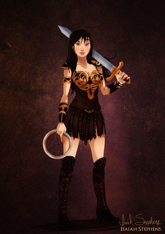 Vamers - Artistry - Disney Princesses Dress as Popular Geek Culture Icons for Halloween by Isaiah Stephens - Mulan as Xena Warrior Princess