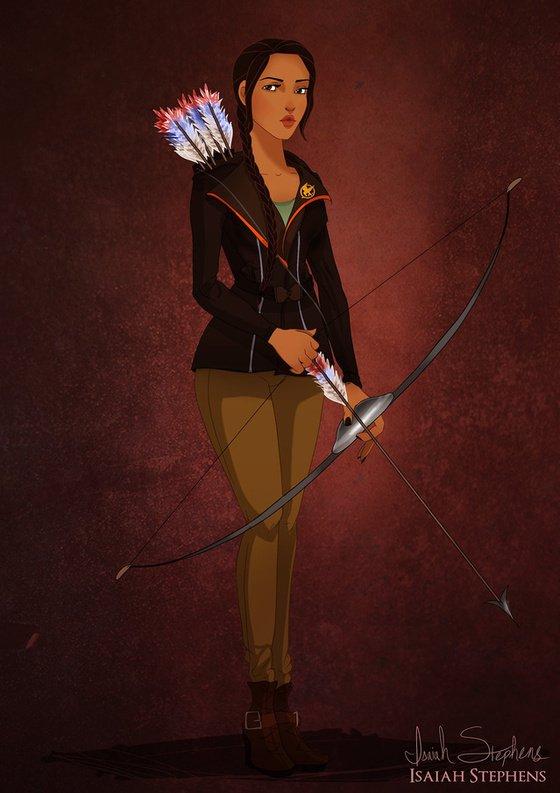 Vamers - Artistry - Disney Princesses Dress as Popular Geek Culture Icons for Halloween by Isaiah Stephens - Pocahontas as Katniss Everdeen