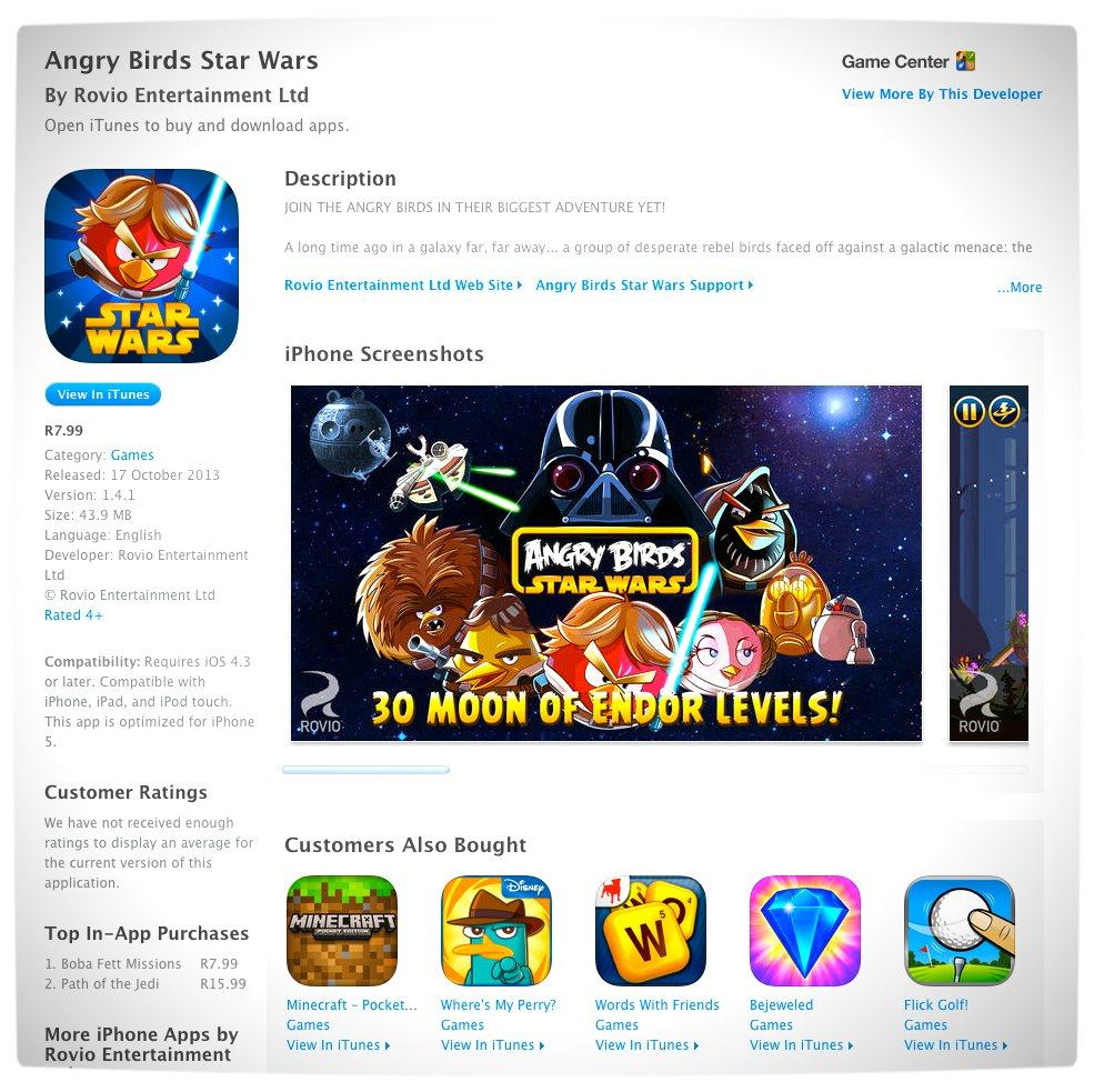 Vamers - FYI - Games Now Available through the iTunes App. Store in South Africa - Angry Birds Star Wars