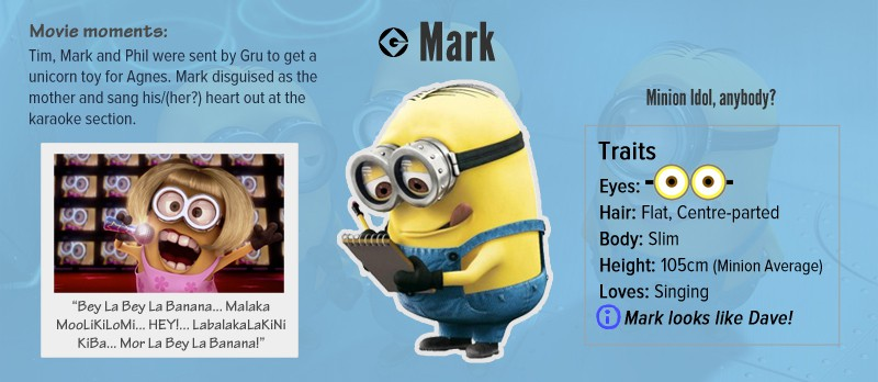 Vamers - Infographics - A Who's Who of the Minions from Despicable Me - Mark