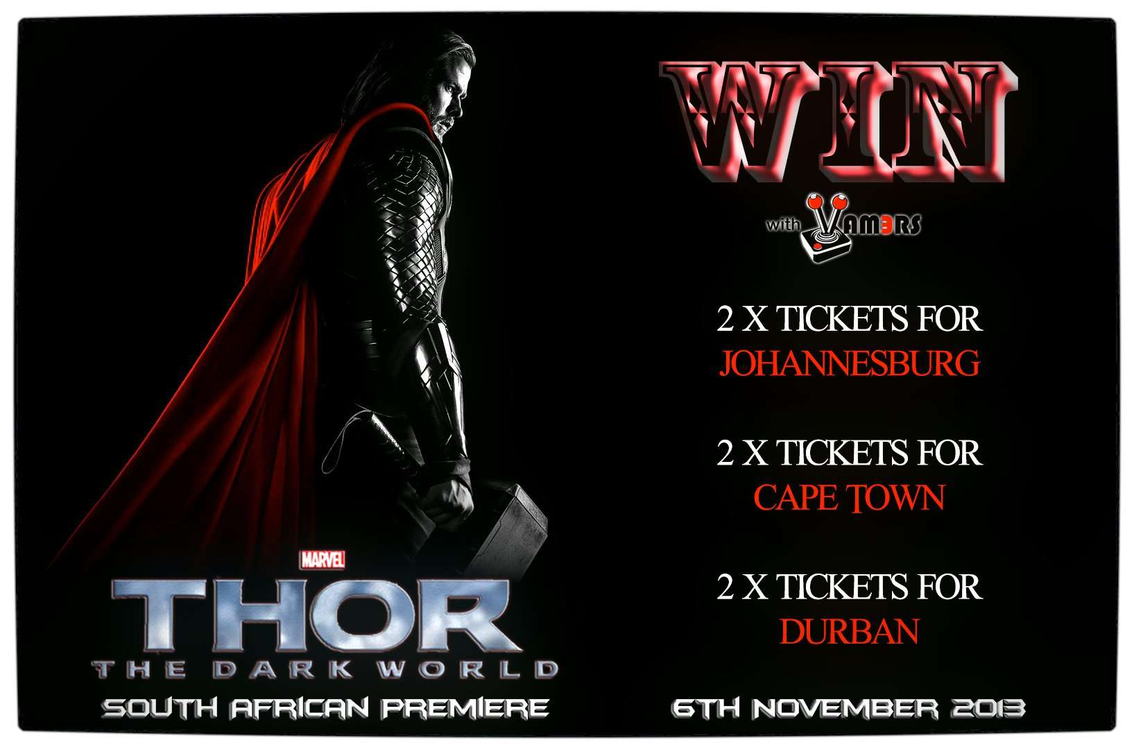 Vamers - Win With Vamers - Tickets to the Exclusive Premiere of Thor The Dark World - Thorsday - Competition Banner Proper