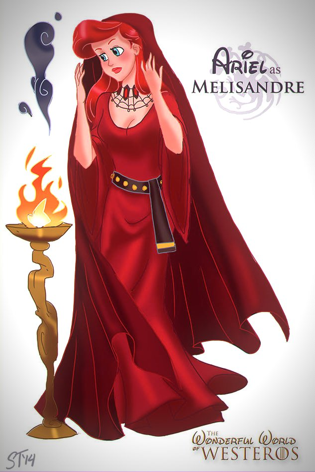 Vamers - Artistry - The Wonderful World of Westeros Imagines Disney Princesses as Game of Thrones Characters - Art by DjeDjehuti - Ariel as Melisandre