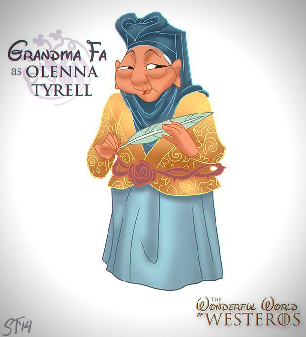 Vamers - Artistry - The Wonderful World of Westeros Imagines Disney Princesses as Game of Thrones Characters - Art by DjeDjehuti - Grandma Fa as Olenna tyrell