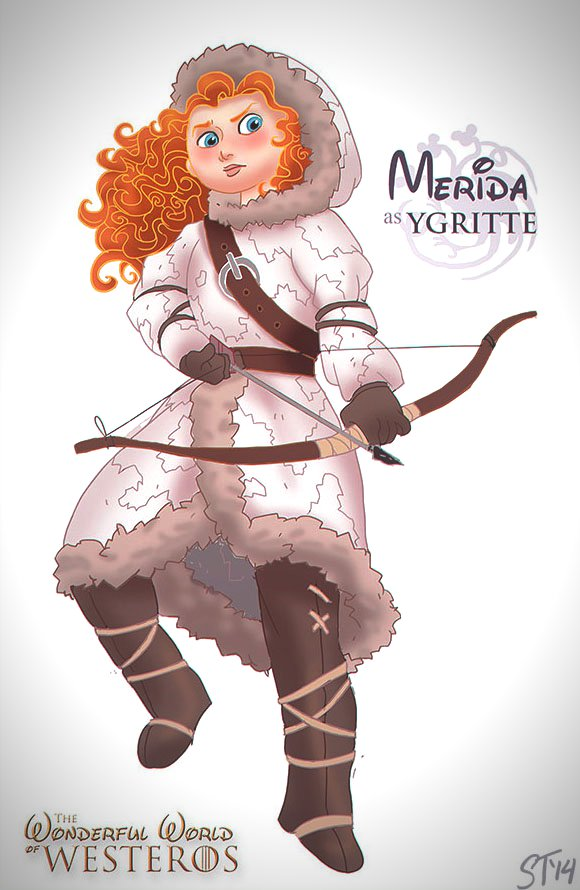 Vamers - Artistry - The Wonderful World of Westeros Imagines Disney Princesses as Game of Thrones Characters - Art by DjeDjehuti - Merida as Ygritte