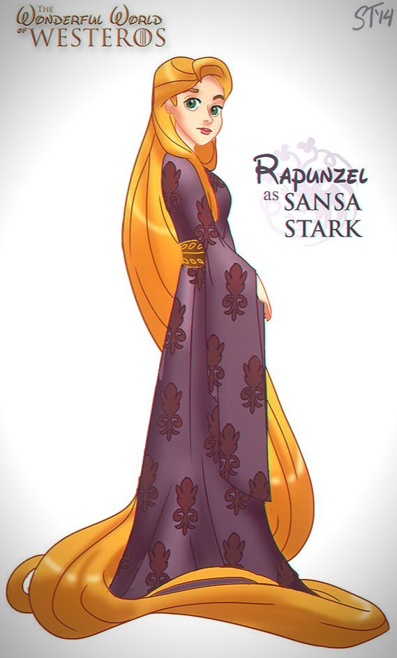 Vamers - Artistry - The Wonderful World of Westeros Imagines Disney Princesses as Game of Thrones Characters - Art by DjeDjehuti - Rapunzel as Sansa Stark