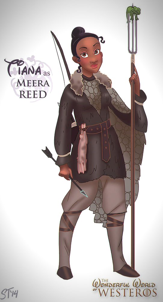 Vamers - Artistry - The Wonderful World of Westeros Imagines Disney Princesses as Game of Thrones Characters - Art by DjeDjehuti - Tiana as Meera Reed