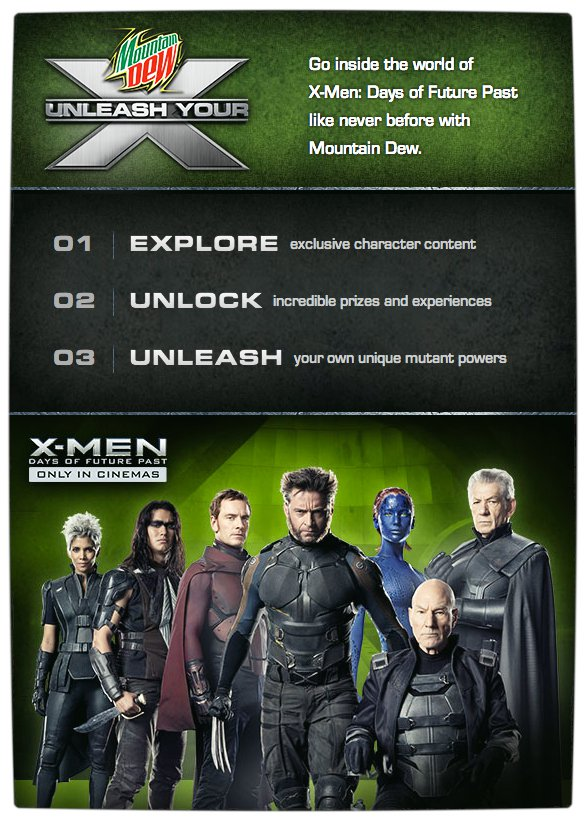 Vamers - FYI - Movies - Mountain Dew wants to Rock Your World through X-Men Days of Future Past - Info Promo Image