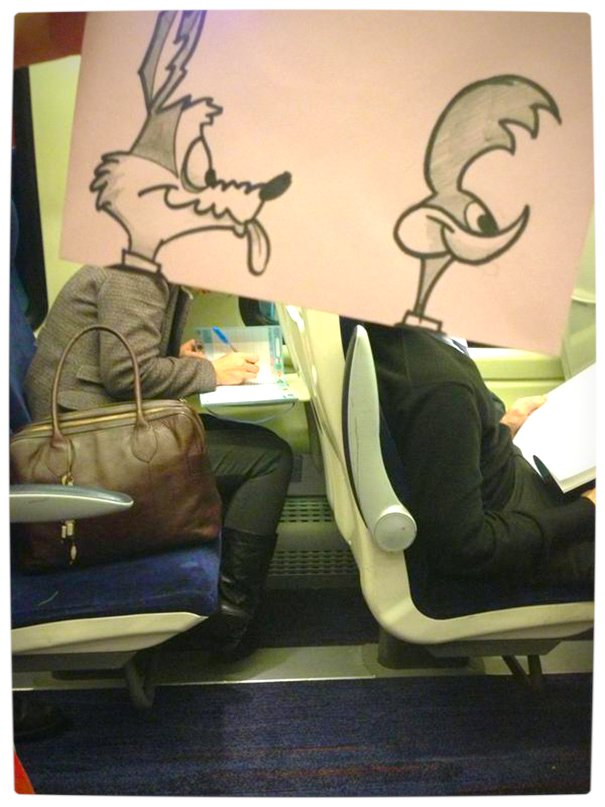 Vamers - Artistry - Illustrator Turns Fellow Commuters Into Cartoon Characters - October Jones - Joe Butcher - Wile E Coyote and Roadrunner