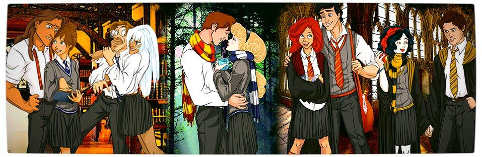 Vamers - Artistry - Mash-Up - 'Disney at Hogwarts' Imagines Disney Royalty as Harry Potter's Peers - Art by Eira1893 - Disney at Hogwarts - Banner