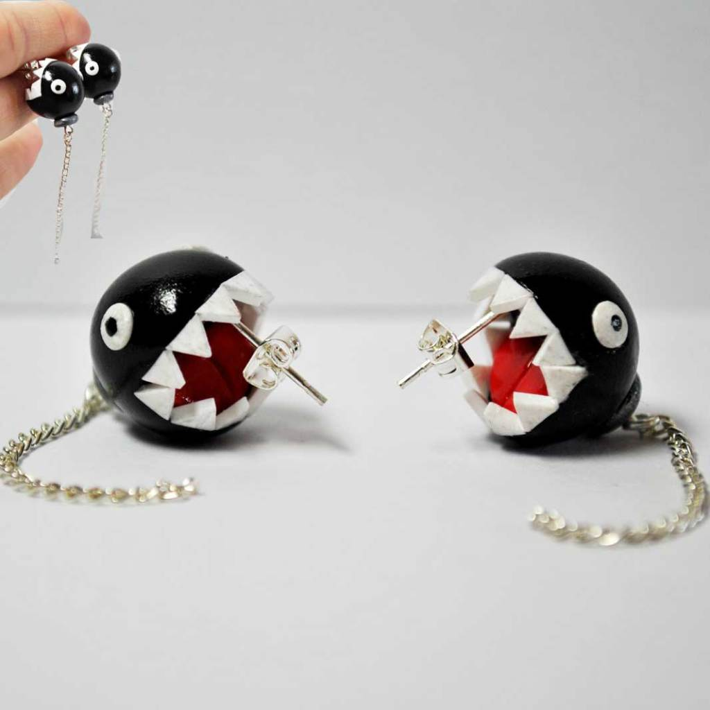 Vamers - Geekmas Gift Guide - Nintendo Mario Chain Chomp Earrings