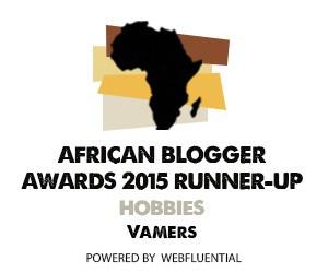 Vamers - Awards - African Blogger Awards 2015 - RUnner Up - Hobbie Category