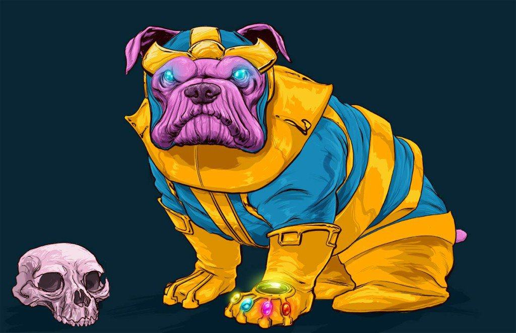 Vamers - Artistry - Fandom - Artist Josh Lynch Imagines Dogs as Superheroes from the Marvel Universe - Thanos with Infinity Gauntlet