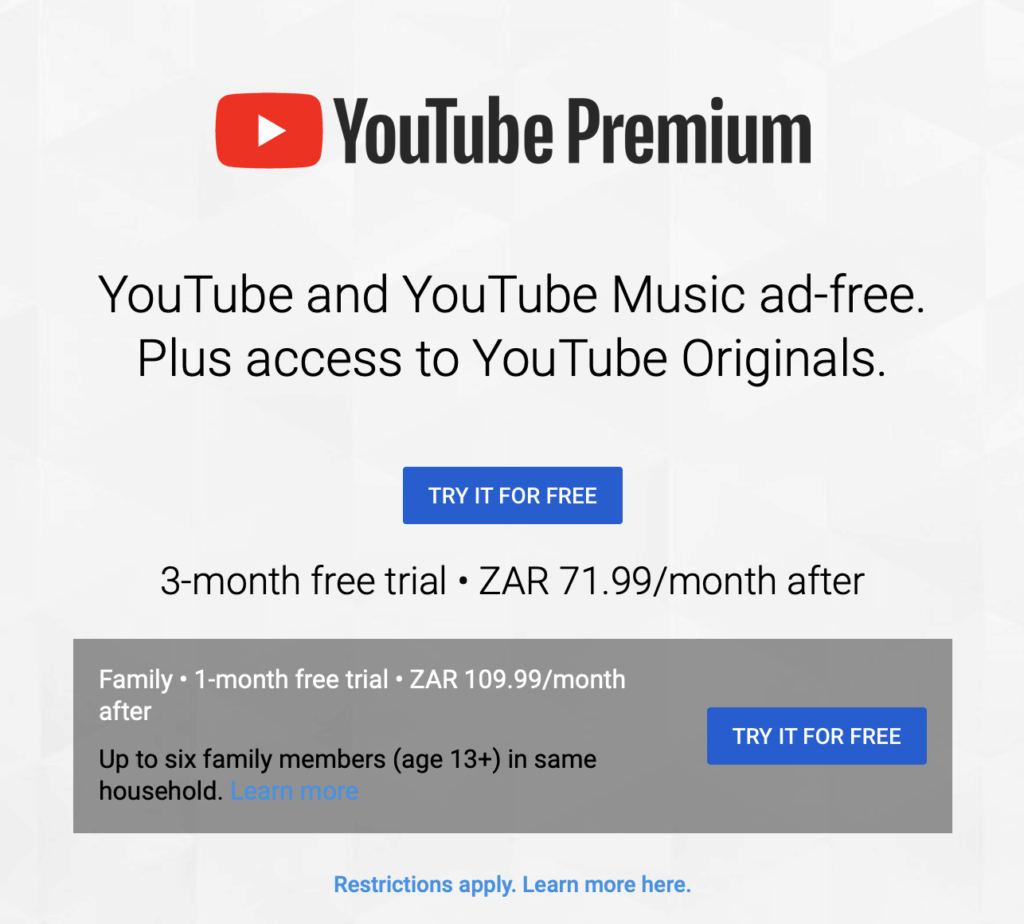 YouTube Premium South Africa now available